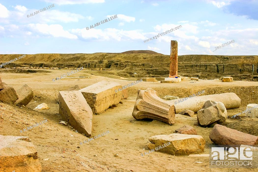 Stock Photo: Egypt, Nile Delta, Tanis, First pylon, with reused palmiform columns. They come from Abusir and date from the Old Kingdom.