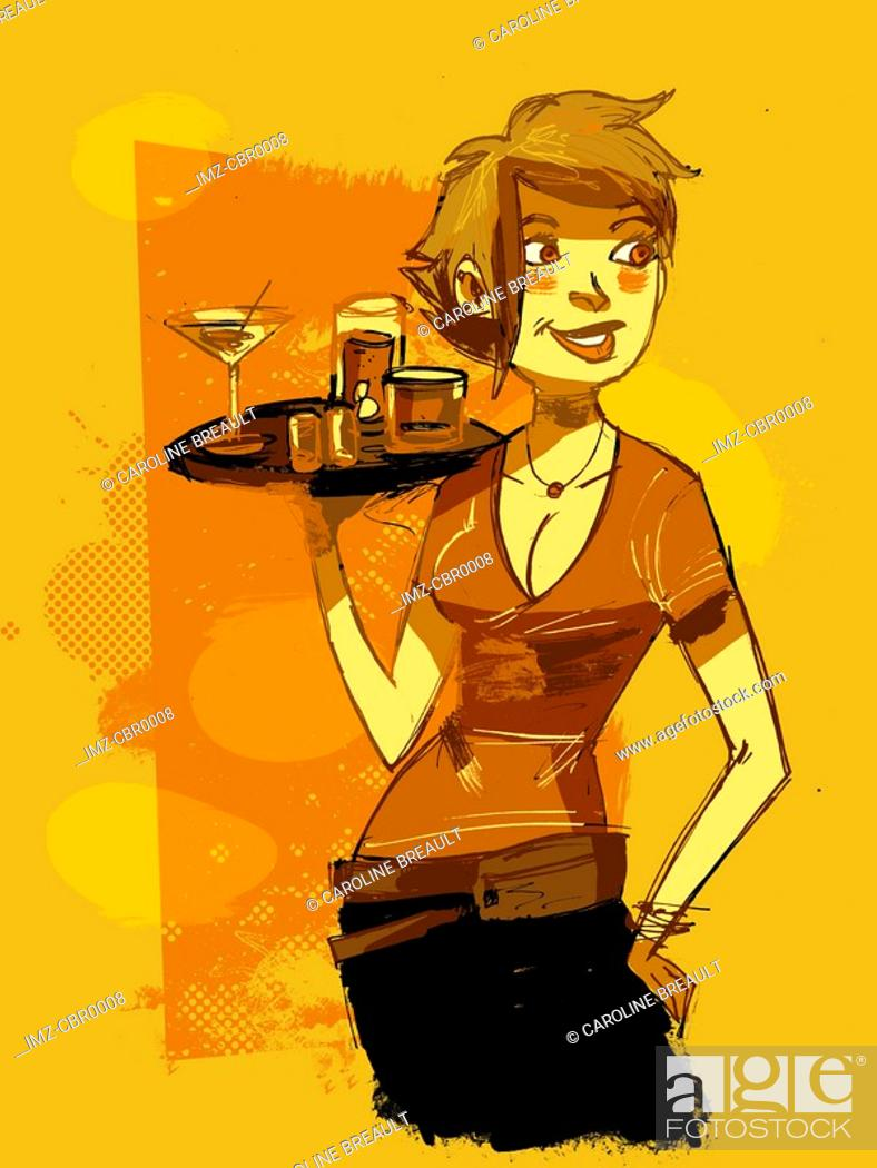 Stock Photo: A waitress serving drinks.