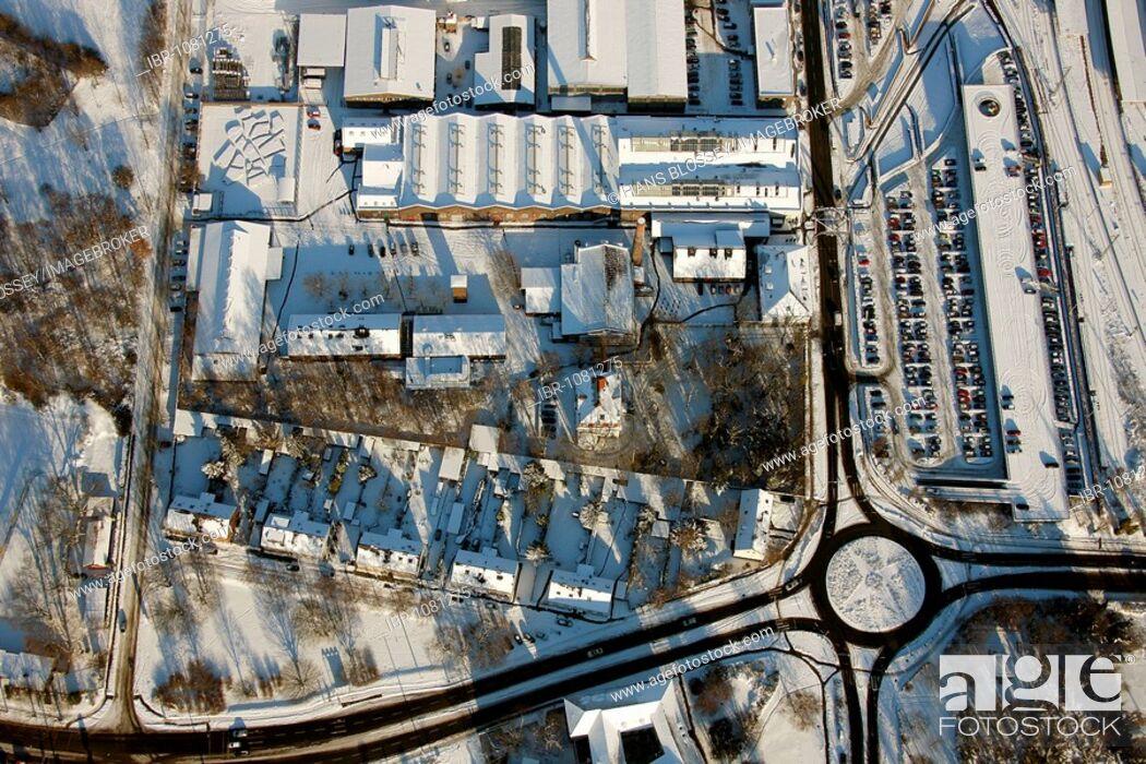 Imagen: Aerial photo, roundabout, Concordiastrasse street, industrial museum, winter, Oberhausen, Ruhr Area, North Rhine-Westphalia, Germany, Europe.