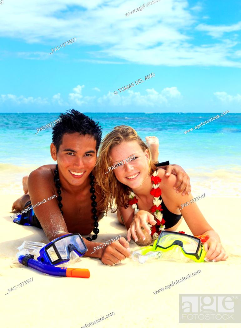 Hawaii Oahu Lanikai Young Couple On The Beach With