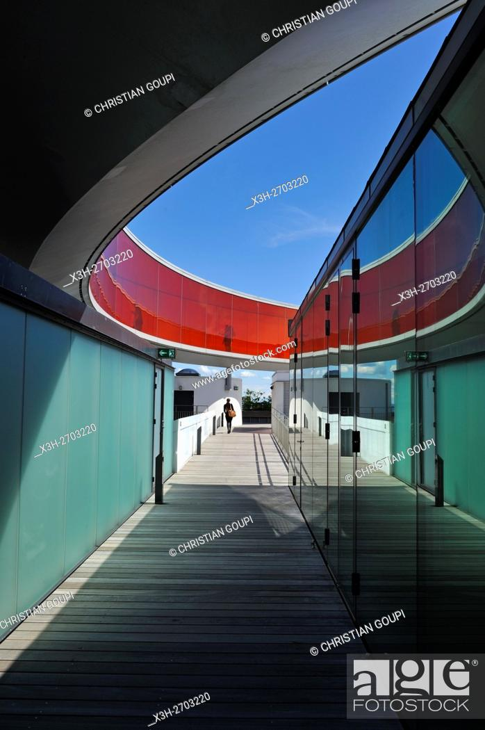 Stock Photo: the installation ''Your rainbow panorama'', a circular skywalk with windows in the colors of the rainbow (by Olafur Eliasson.