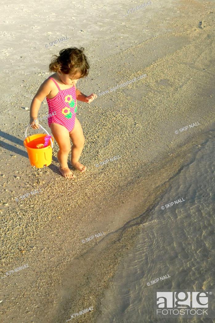 Stock Photo: Little girl on the beach in Panama City Beach, Florida.
