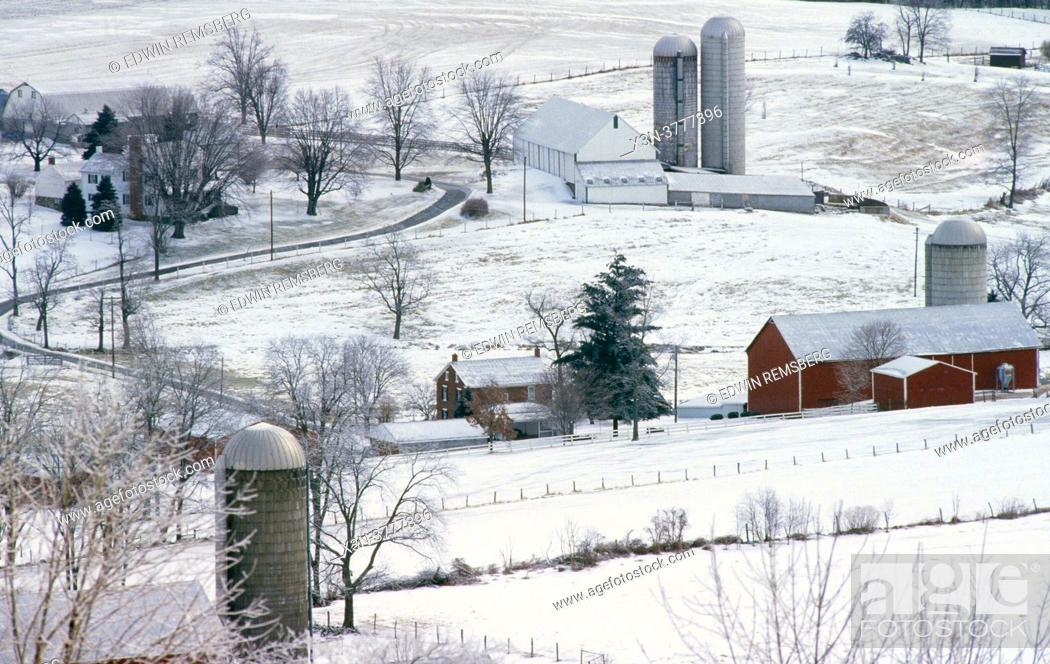 Stock Photo: Farms and landscape in Frederick County Maryland.