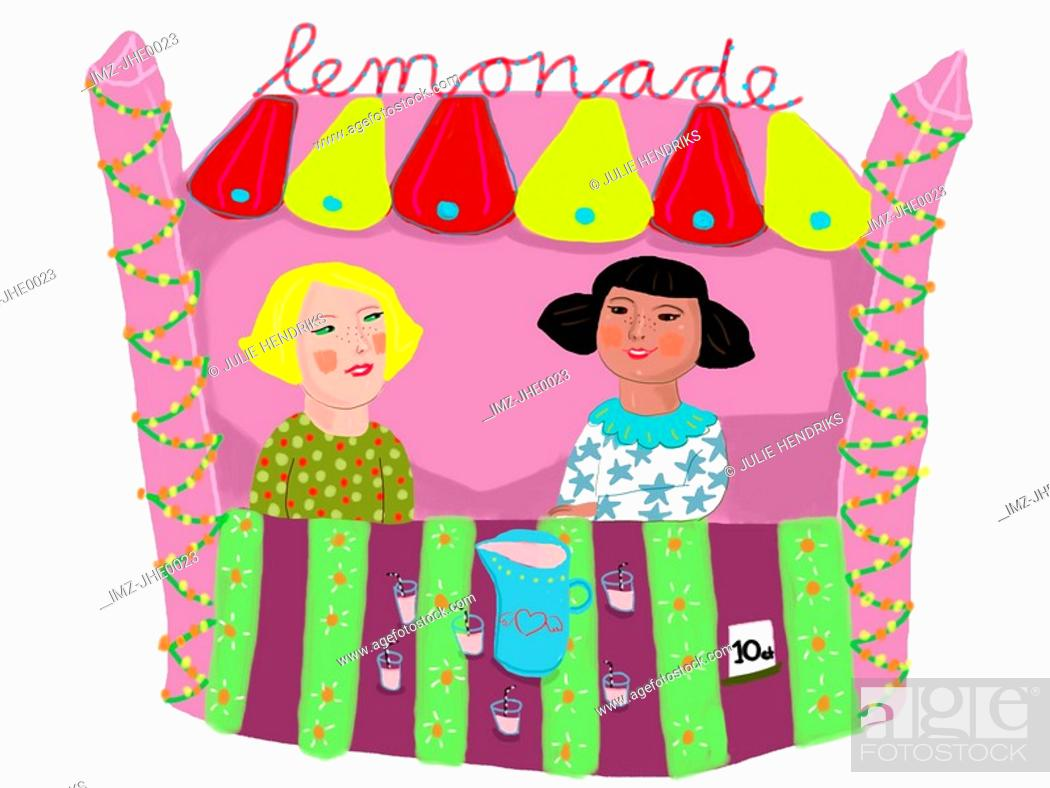 Stock Photo: Two girls selling drinks at the lemonade stand.