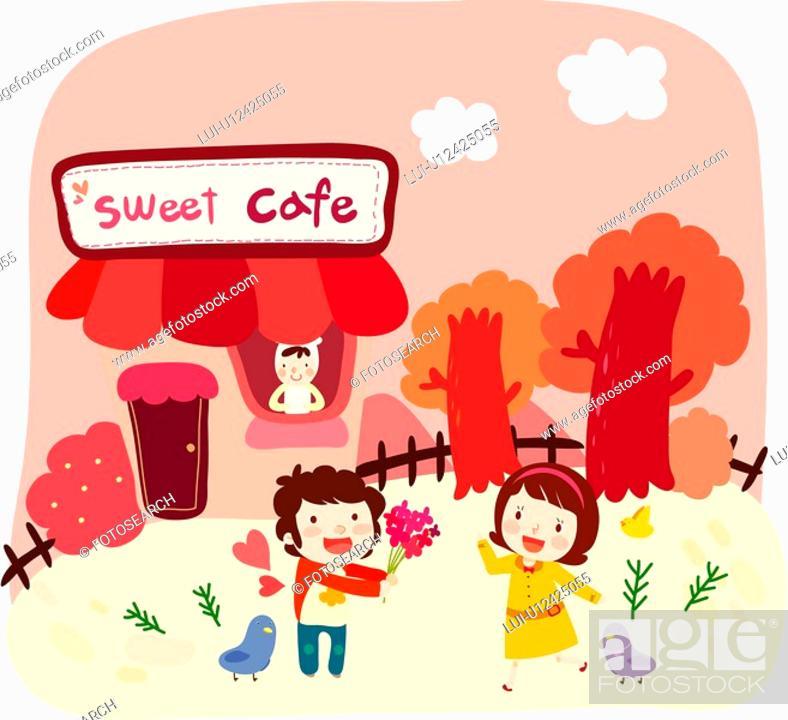 Stock Photo: bouquet, bird, flower, outdoor, feild, cafe.
