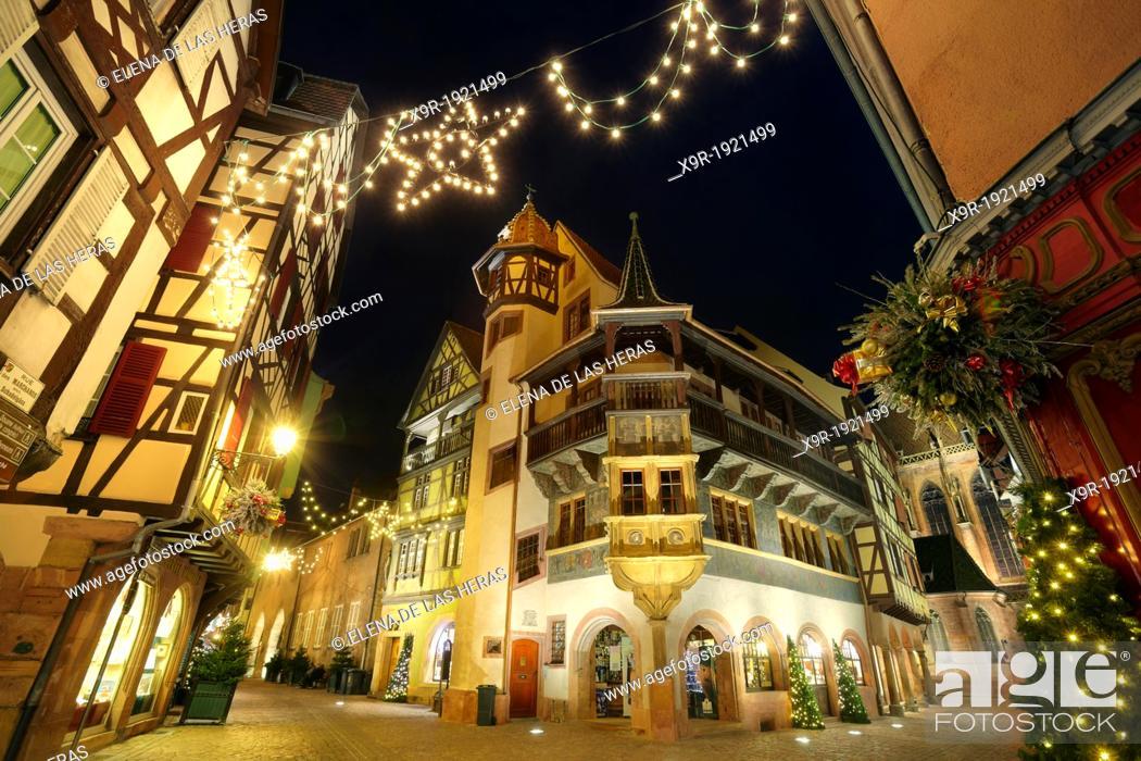 Stock Photo: Maison Pfister  German Reinaissance with christmas lights at night  Colmar  Alsace Wine route  Haut-Rhin  Alsace  France.