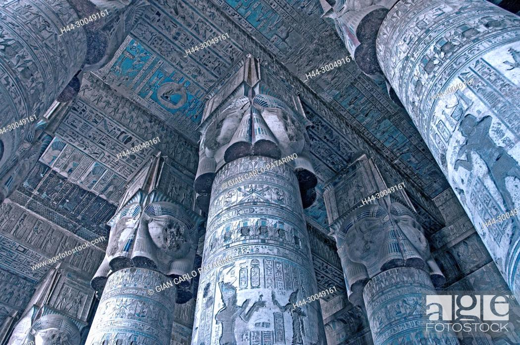 Stock Photo: Dendera Egypt, ptolemaic temple dedicated to the goddess Hathor. The hypostyle hall.