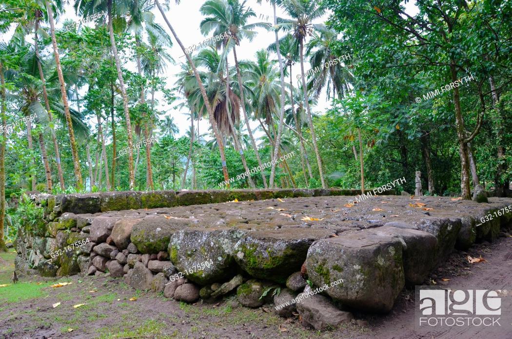 Stock Photo: Marae, ceremonial platform, Kamuihei, Nuku Hiva, Marquesas Islands, French Polynesia.