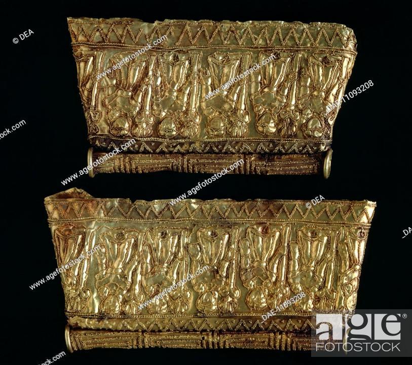 Stock Photo: Gold pendants, from Cerveteri (Lazio). Etruscan civilization, 7th Century BC.  Città Del Vaticano, Vatican Museums, Etruscan Museum.