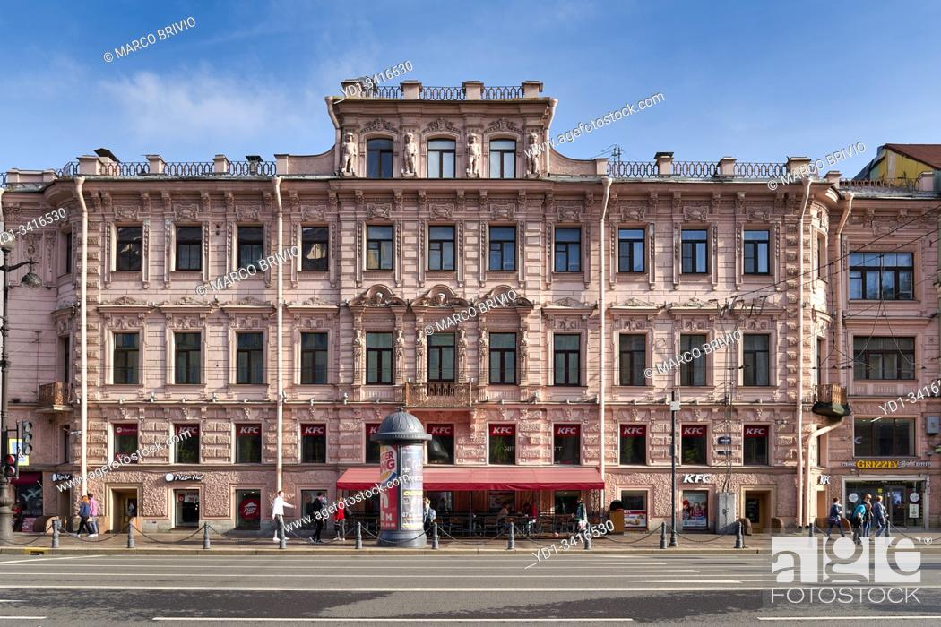 Stock Photo: St. Petersburg Russia. Historical buildings on Nevsky Prospect.