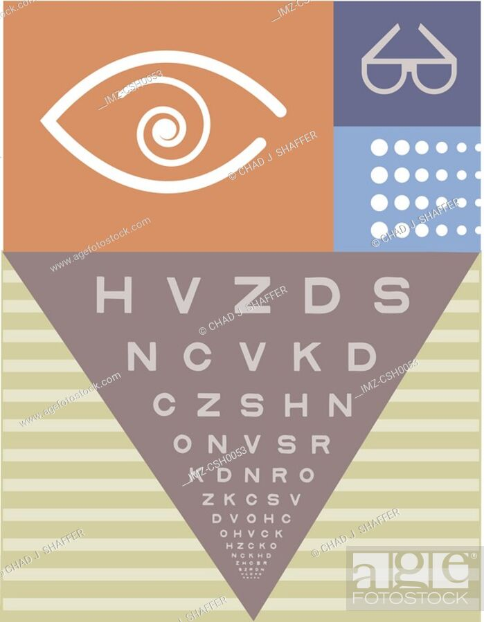 Stock Photo: A picture of a Snellen chart used for eye examination.