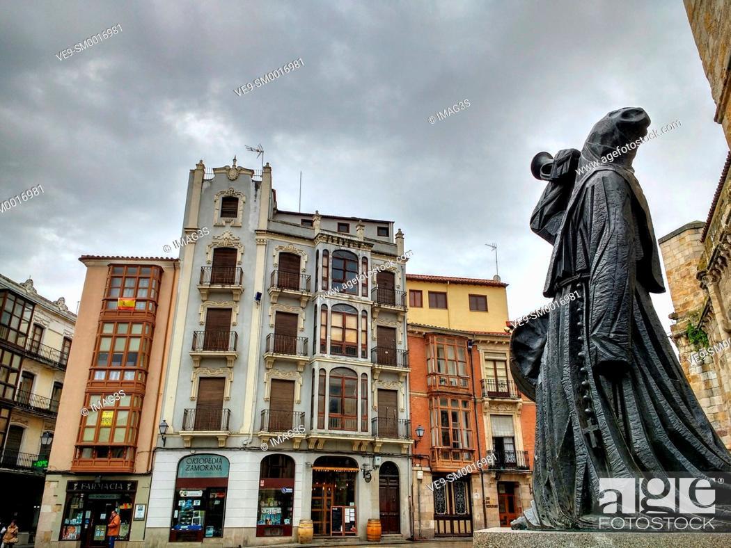 Stock Photo: Merlú image in front of San Juan de Puerta Nueva church. Zamora. Spain.