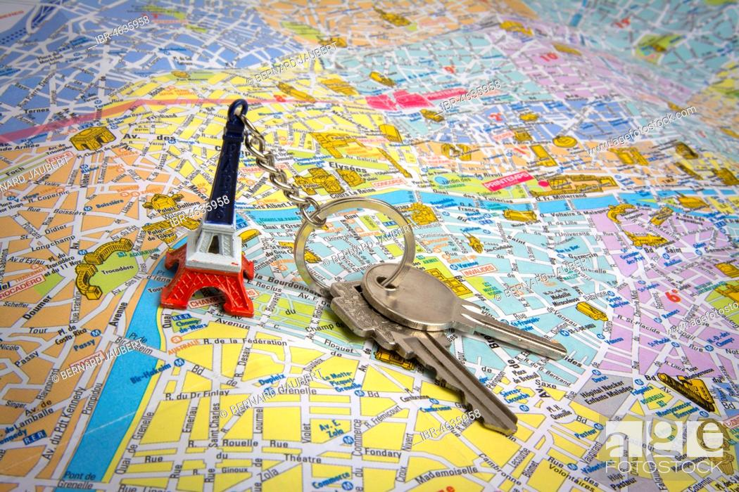 Map Of France With Key.City Map Of Paris With Keys Real Estate Market Concept France