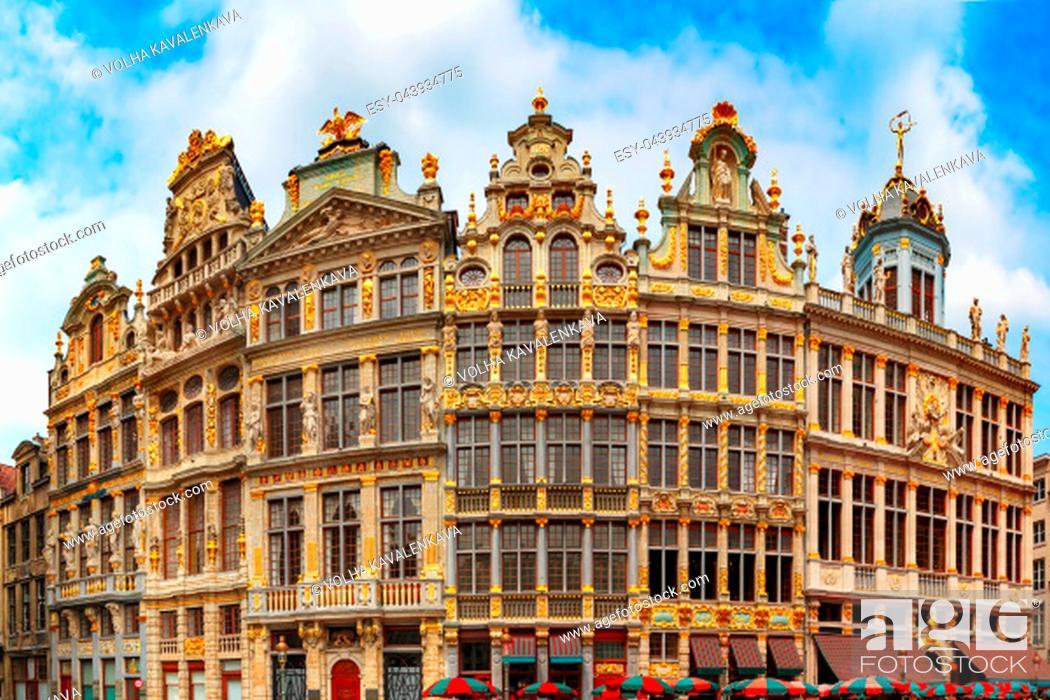 Stock Photo: Beautiful houses of the Grand Place Square in Brussels, Belgium. From right to left Le Roy d'Espagne, La Brouette, Le Sac, La Louve, Le Cornet, Le Renard.