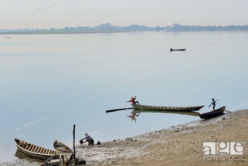 Stock Photo: Lemro river near Mrauk U, Rakhine State, Myanmar.