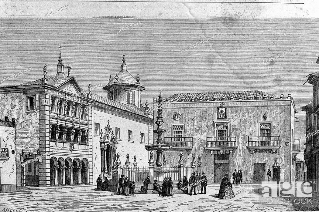 Stock Photo: (From ' Le Tour du Monde'  published Paris, 1860's). Viana do Castelo in 1850's. Portugal.