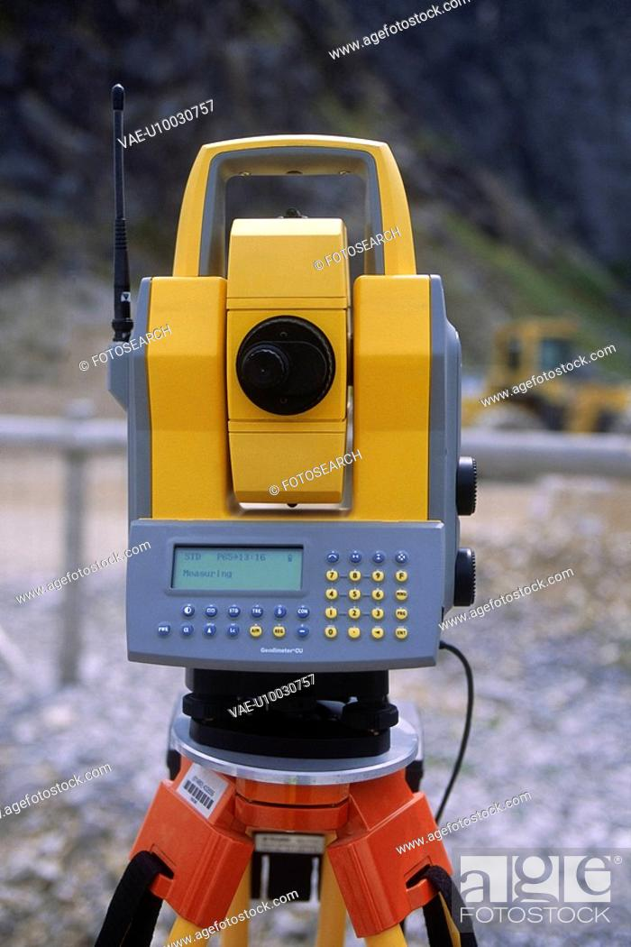 Stock Photo: EDM or Total Station on site.