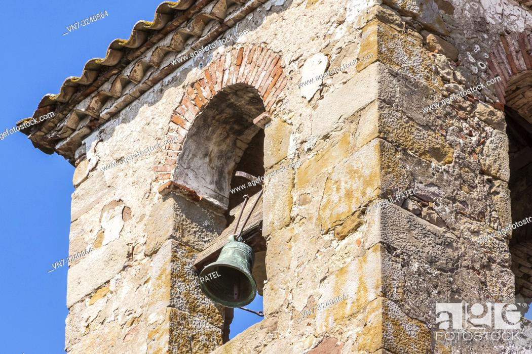 Stock Photo: Close up of rustic bell tower, Catalonia, Spain, Europe.