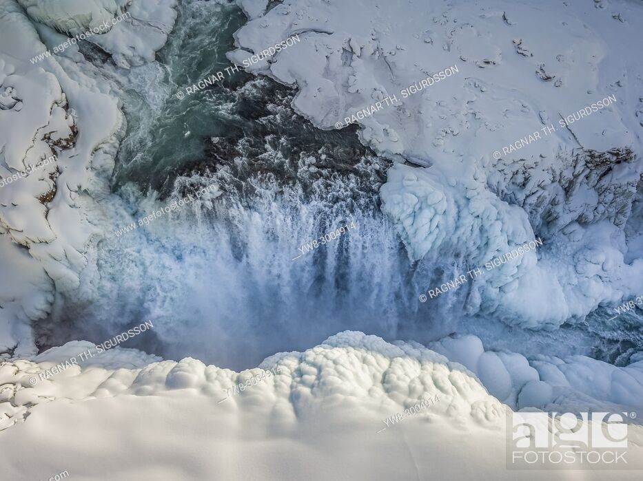 Stock Photo: Gullfoss Waterfalls, Wintertime, Iceland.