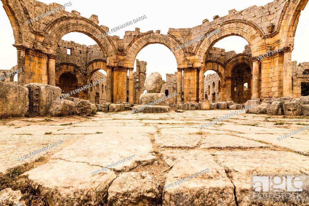 Stock Photo: Ruins of the church and pillar Church of Saint Simeon Stylites. Syria.