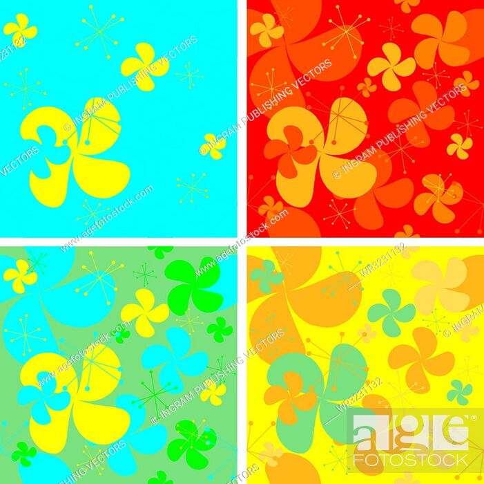 Vector: Abstract seventies style wallpaper with retro styling and four color variations.