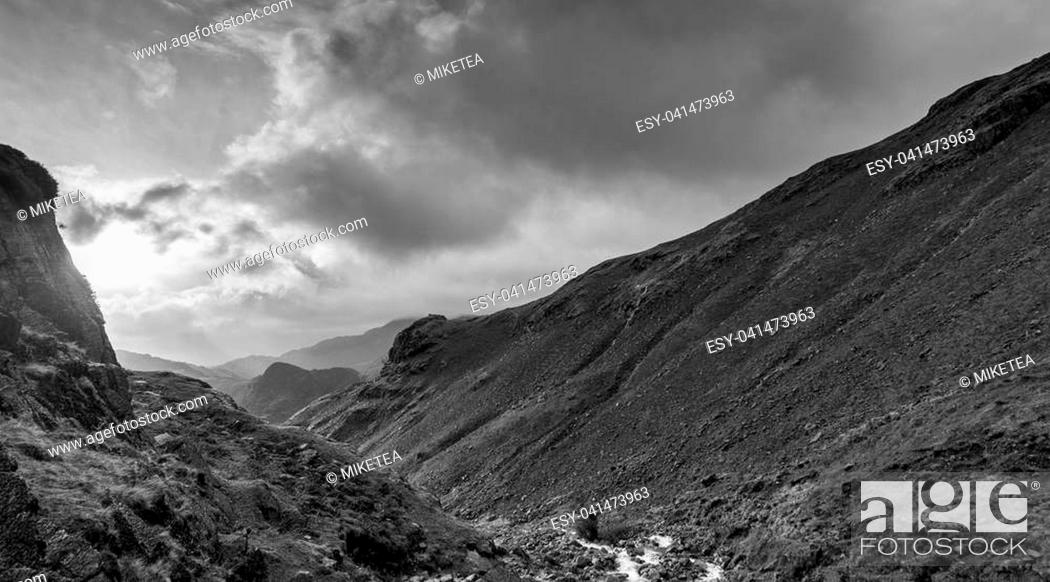 Stock Photo: Views from Great Langdale in Cumbria, UK.