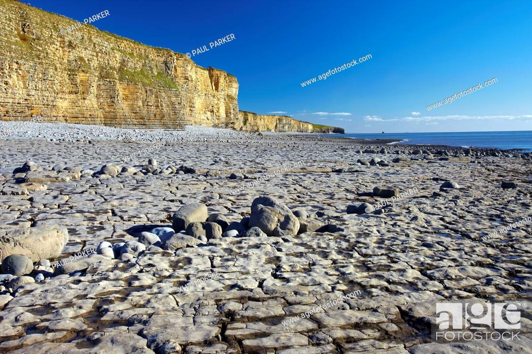 Stock Photo: Rocky Beach at Llantwit Major, the Glamorgan Heritage Coast, Glamorgan, South Wales, UK.