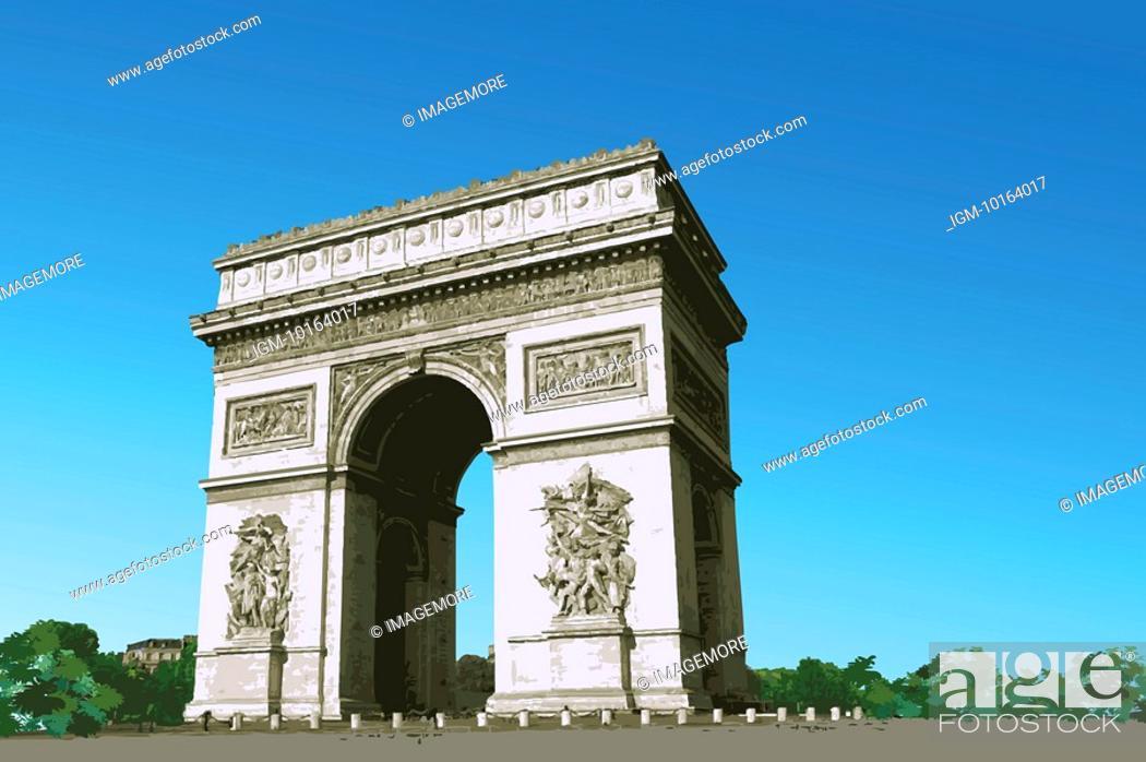 Stock Photo: France, Paris, Arc de Triomphe, Capital Cities.