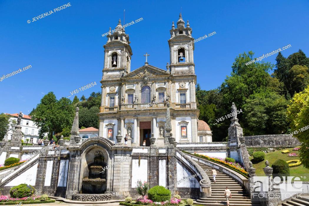 Stock Photo: Igreja do Bom Jesus from Terreiro de Moises , Santuario do Bom Jesus do Monte, Good Jesus of the Mount sanctuary, Tenoes, Braga, Cavado, Norte, Portugal.