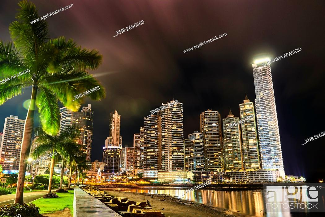 Stock Photo: Punta Paitilla at Night, Panama City, Republic of Panama, Central America.