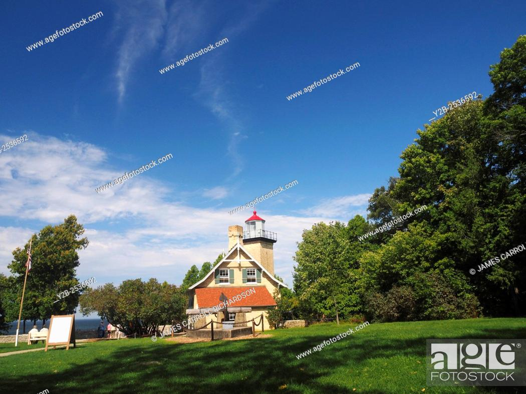 Stock Photo: Eagle Bluff Lighthouse Peninsula State Park Door County Wisconsin.