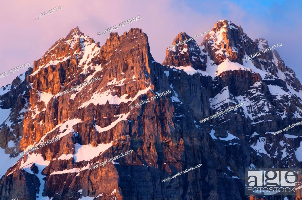 Stock Photo: Wenkchemna Peaks from Larch Valley Trail, Banff National Park, Alberta, Canada.