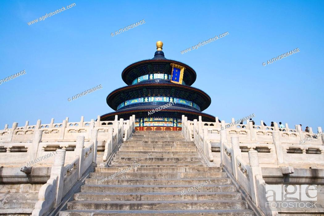 Stock Photo: China - Beijing PÚkin - Chinese City - Temple of the Sky Tiantan The Prayer Hall for rich harvest Qiniandian.