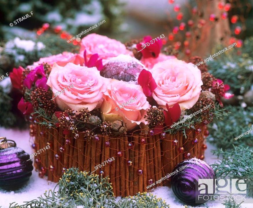 Stock Photo: Advent flower arrangement.