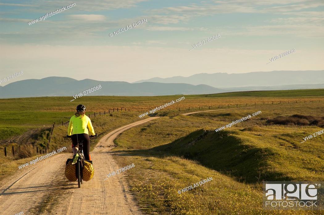 Stock Photo: Bike traveller in Alcañizo, Toledo province, Castile LaMancha, Spain.