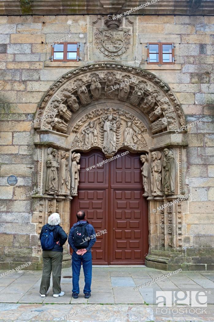 Stock Photo: Portal of Colegio de San Jeronimo at Praza do Obradoiro, historic center of Santiago de Compostela, A Coruna, Galicia, Spain, Europe.