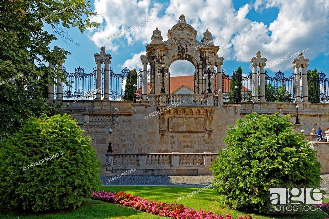 Stock Photo: castle garden on mount Buda in Budapest.
