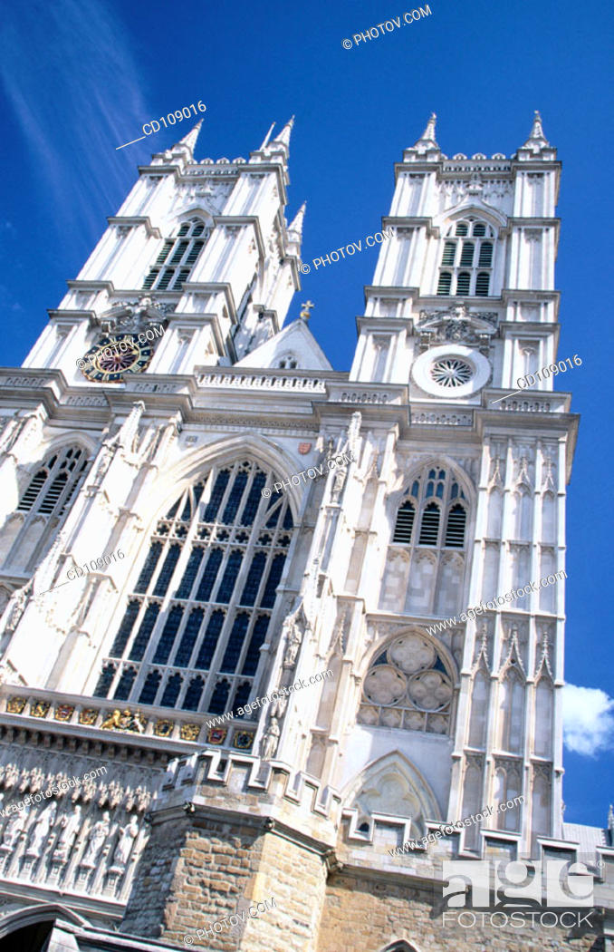 Stock Photo: West facade of Westminster Abbey, built in Gothic style. London. England.