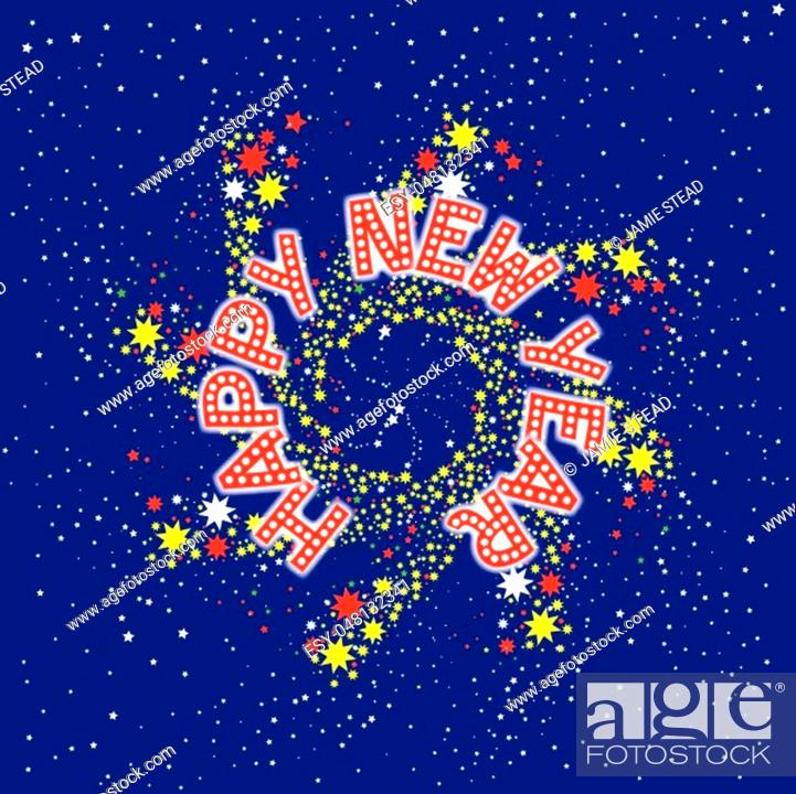 Stock Vector: A spinning pin wheel or catherine wheel with a new year message.
