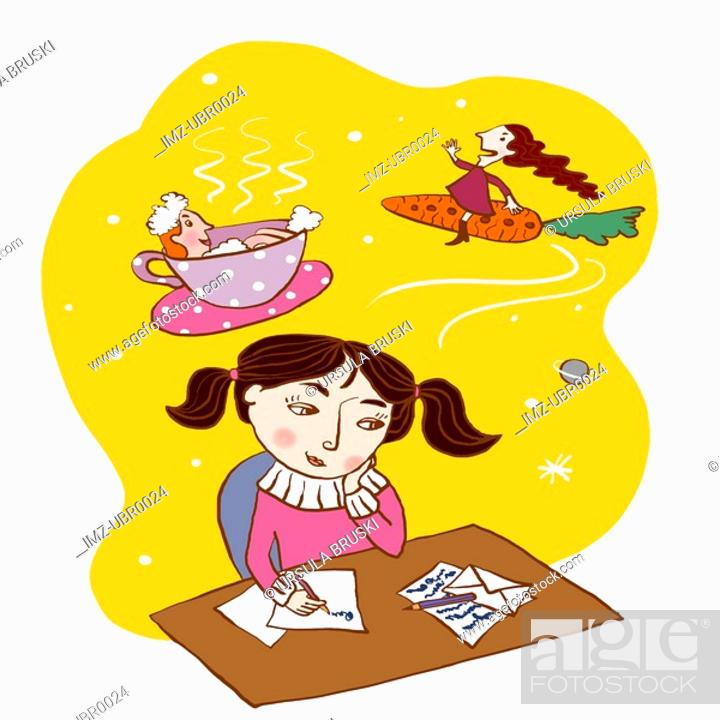 Stock Photo: A young girl writing a letter filled with imagination.