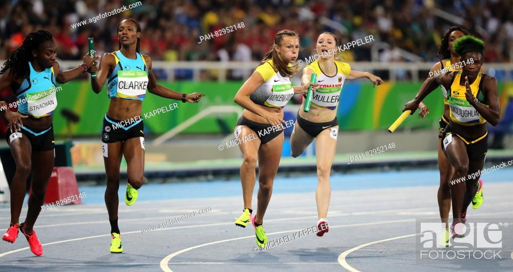 L-R) Lanece Clarke and of Bahamas, Laura Mueller and
