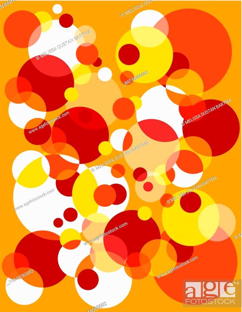Stock Photo: Red, orange and white bubble burst pattern.