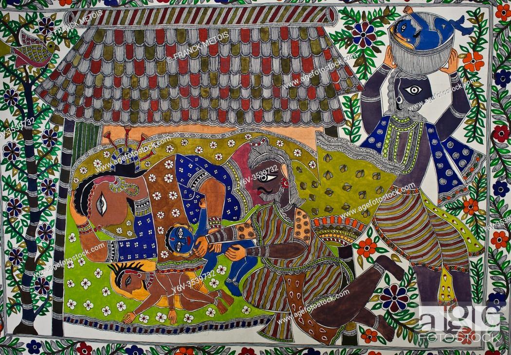 Stock Photo: Madhubani painting representing hindu mythology ( Bihar, India). The Madhubani ( or Mithila) style of painting is an art form practiced in northern India and.