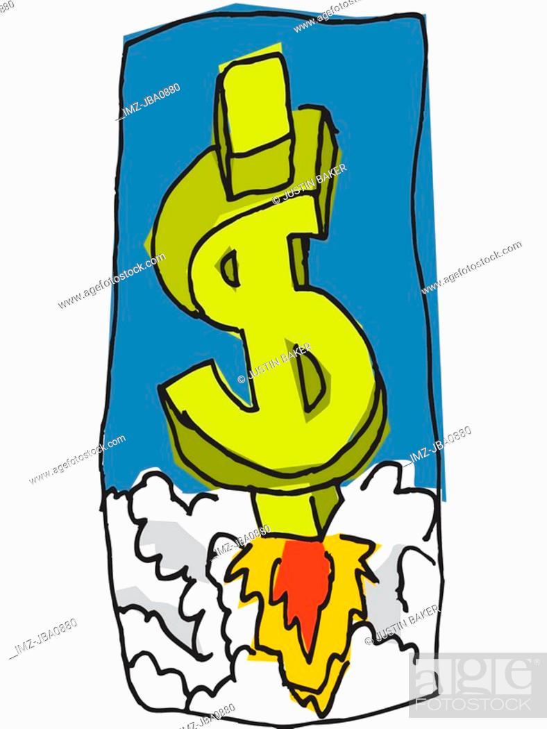 Stock Photo: dollar sign rocket.