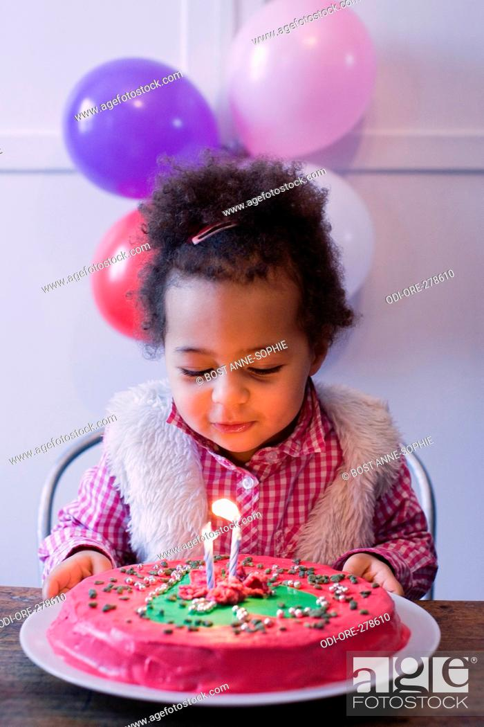 Awe Inspiring Little Girl Birthday Cake Stock Photo Picture And Rights Managed Funny Birthday Cards Online Elaedamsfinfo