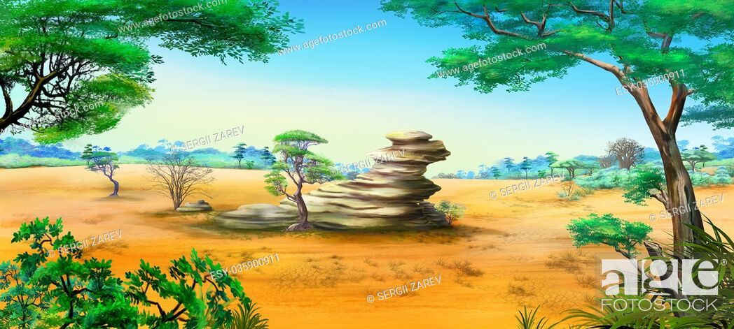 Stock Photo: Digital painting of the African Savannah in a summer day with stone rock. Panorama.