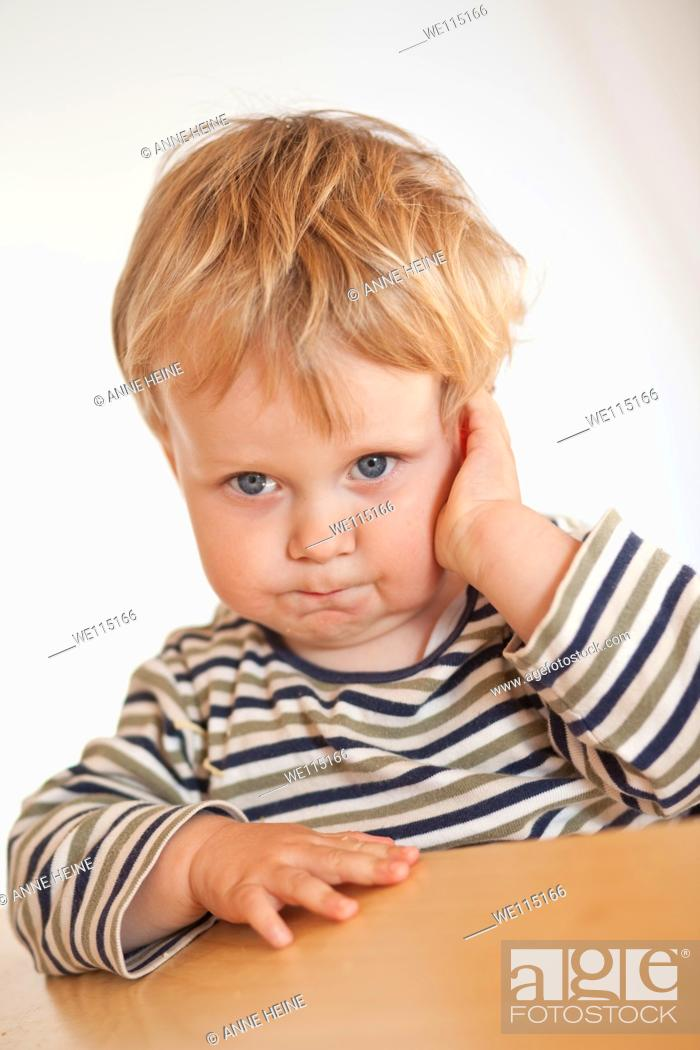 Stock Photo: portrait of boy thinking.