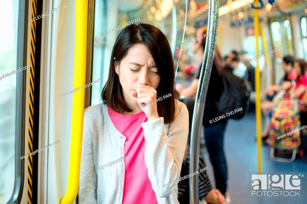 Stock Photo: Woman suffer from cough.