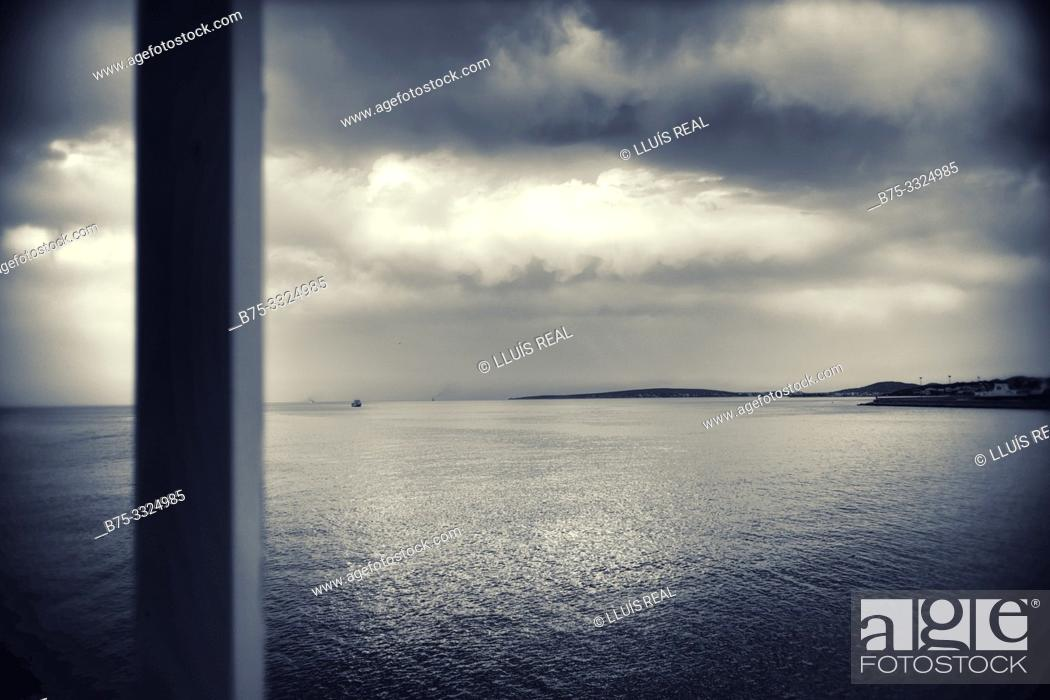 Stock Photo: View from the deck of a boat of the Mediterranean coast Ibiza, Baleares, Spain.Europa.