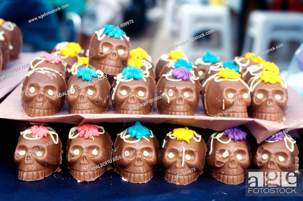 Stock Photo: Chocolate skulls. Mexican tradition in All Saint's Day, devoted to remembering the dead, is to offer sweet skulls with their names on. Mexico.